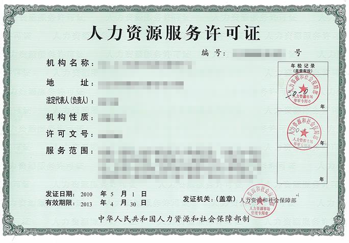 福州人力资源许可证